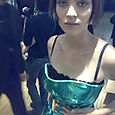 Alison looking stunning in a shiny green dress